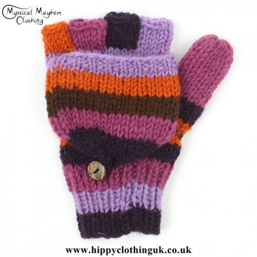 Purple Two in One Fingerless and Mitten Wool Gloves
