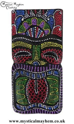 Colourful Handmade Wooden Tiki Face