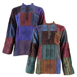 Multicoloured Patchwork Cotton Grandad Shirt