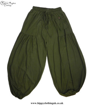 Plain-Green-Cotton-Baggy-Hippy-Trousers