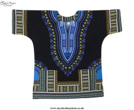 Thai-Short-Sleeve-Cotton-Hippy-Festival-Top-Black,-Blue-&-Yellow