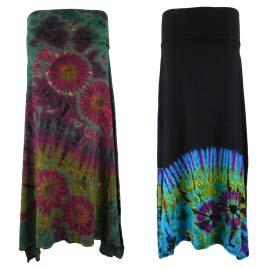 Tie Dye Elastic Waist Skirts