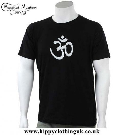 Black-Cotton-T-Shirt-with-Printed-OM-Design