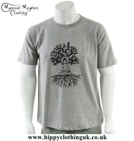 Grey-Cotton-T-Shirt-with-Printed-Buddha-Tree-Design