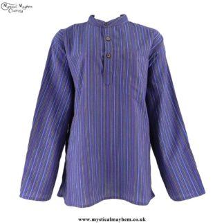Neaplese-Cotton-Striped-Grandad-Shirt-Purple-Blue-Colour-Mix