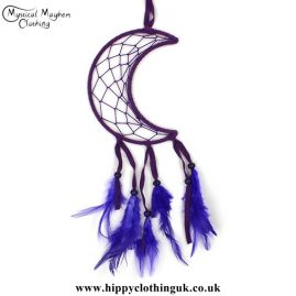 Purple Nylon Crescent Moon Dreamcatcher
