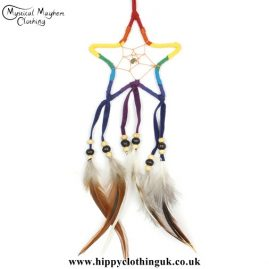 Rainbow Faux Suede Star Dreamcatcher
