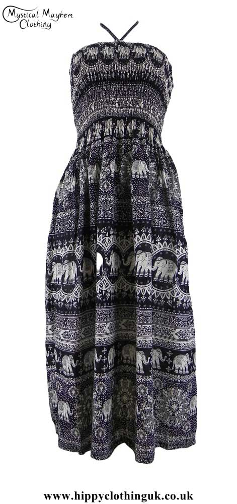 Elephant-Print-Rayon-Maxi-Dress---Halterneck