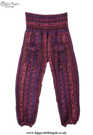 Funky-Patterned-Acrylic-Hippy-Festival-Trousers-Pink-&-Purple