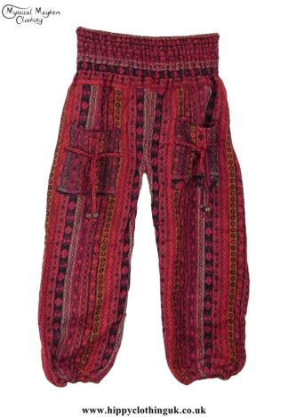 Funky-Patterned-Acrylic-Hippy-Festival-Trousers-Red