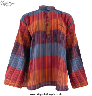 Hippy-Nepalese-Striped-Cotton-Grandad-Shirts