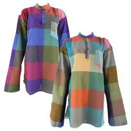 Nepalese Check Grandad Shirts