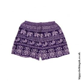 Purple-Ladies-Elephant-Print-Shorts-1