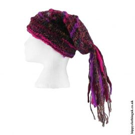 Purple-&-Pink-Recycled-Silk-Hat-with-Wool-Tassels