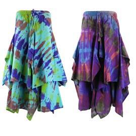 Multi Layer Ragged Pixie Hem Tie Dye Festival Skirt