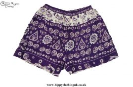 Thai-Ladies-Hippy-Rayon-Shorts-Purple
