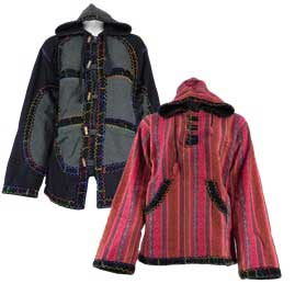Cotton Fleece Lined Jackets with Felt Trim