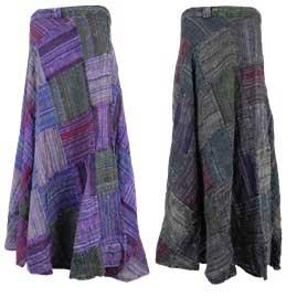Cotton Patchwork Wrap Skirts
