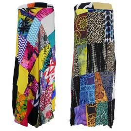 Long Rayon Patchwork Wrap Skirts