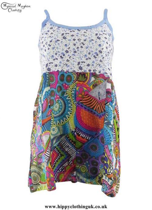 Multicoloured-Patchwork-Adjustable-Vest-Top