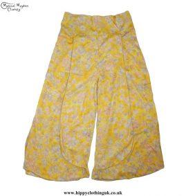 Yellow Recycled-Sari-Silk-Trousers