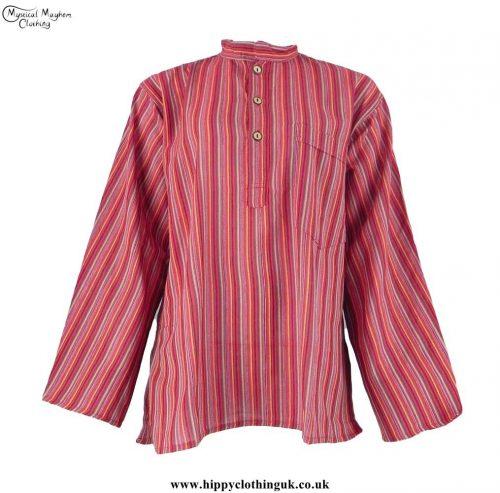 Neaplese-Cotton-Striped-Grandad-Shirt-Red-Colour-Mix
