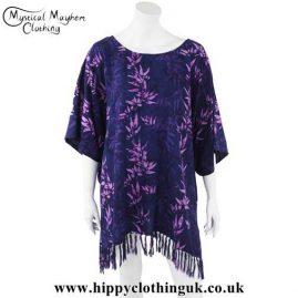 Purple-Bamboo-Short-Rayon-Batik-Kaftan-with-Tassels