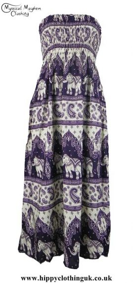 Purple-Elephant-Print-Rayon-Maxi-Dress
