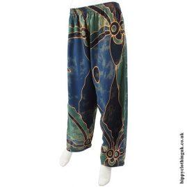 Green Batik Patterned Trousers