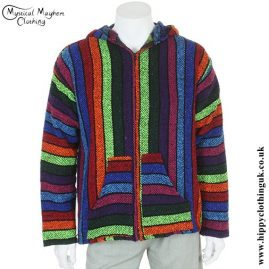 Rainbow Zipped Mexican Baja Hoodie