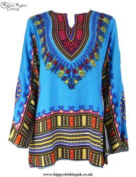 Turquoise-Long-Sleeve-Dashiki-Tunic