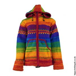 Rainbow-Wool-High-Neck-Hooded-Jacket
