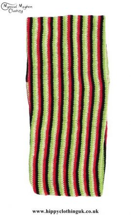 Standard-Stretchy-Knitted-Cotton-Hippy-Head-Band-Green-&-Red