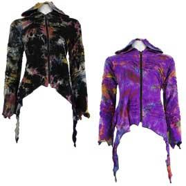 Tie Dye Pixie Hooded Ragged Hem Cotton Jacket