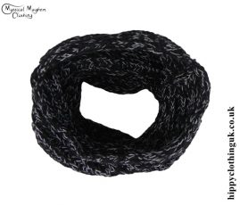 Black and White Knitted Wool Snood