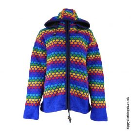 Blue Multicoloured Nigh Neck Hooded Jacket
