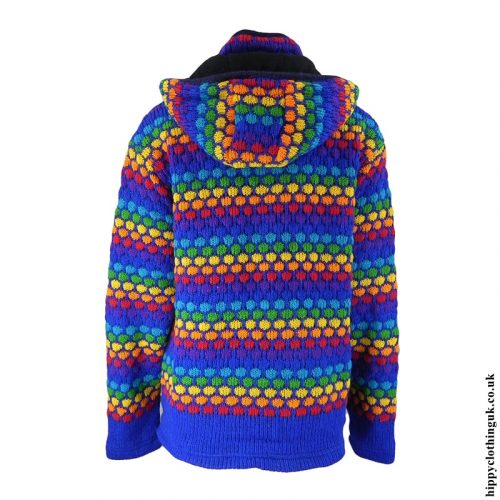 Blue Multicoloured Nigh Neck Hooded Jacket Back