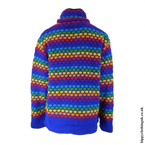 Blue Multicoloured Nigh Neck Hooded Jacket - Hood Removed
