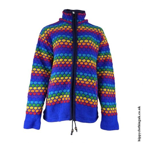 Blue Multicoloured Nigh Neck Hooded Jacket - Hood Removed Front