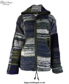 Green-Colour-Mix-Fleece-Lined-Wool-Patchwork-Jacket