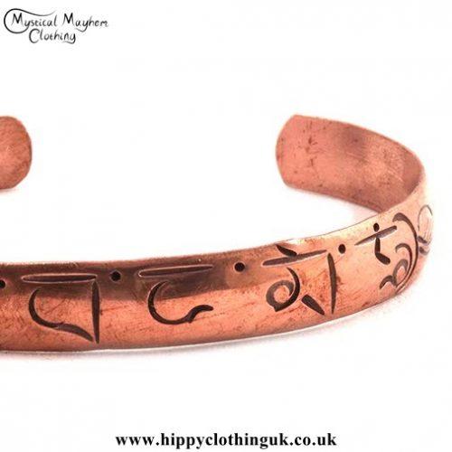Om Copper Bracelet Right Side