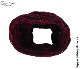 Red and black Knitted Wool Snood