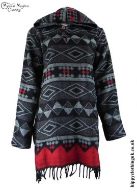 Black-Acrylic-Wool-Hooded-Hippy-Dress-Top