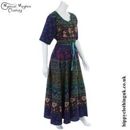 Blue Long Cotton Hippy Throw Dress