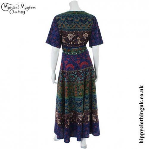 Blue Long Cotton Hippy Throw Dress - Back