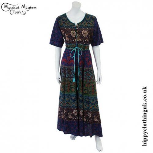 Blue Long Cotton Hippy Throw Dress - Front