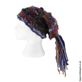 Blue-Recycled-Silk-Hat-with-Wool-Tassels