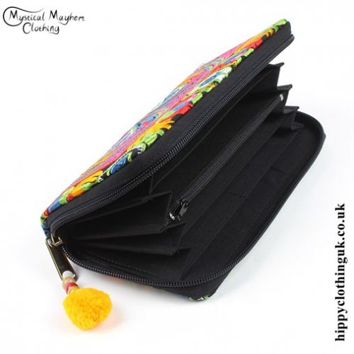 Embroidered Clutch Purse - Open
