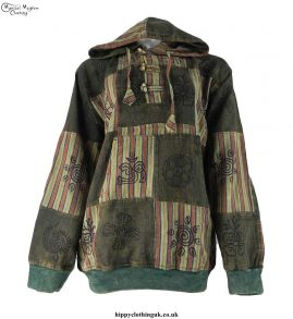 Green-Overdyed-Cotton-Patchwork-Hooded-Hippy-Shirt