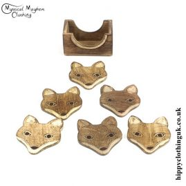 Hand Carved Wooden Fox Coasters
